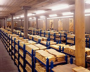 Gold storage in the Bank of England's underground vault.
